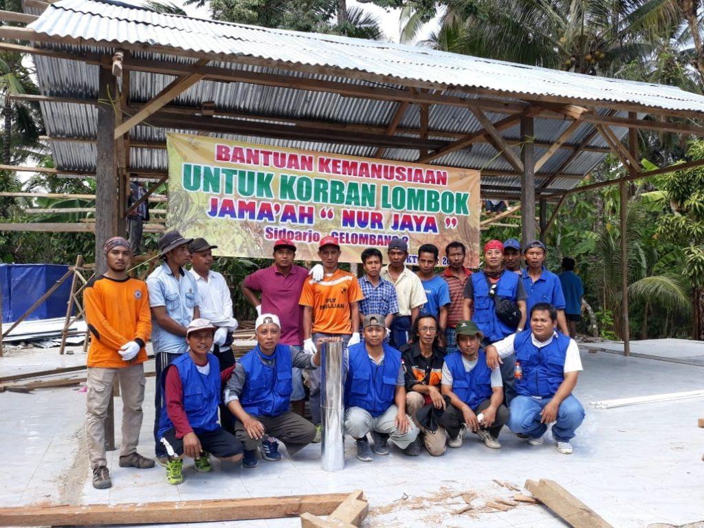 Jamaah Nur Jaya Sidoarjo Bantu Pembangunan Masjid dan Mushola Darurat di Dusun Terpencil Lombok Utara